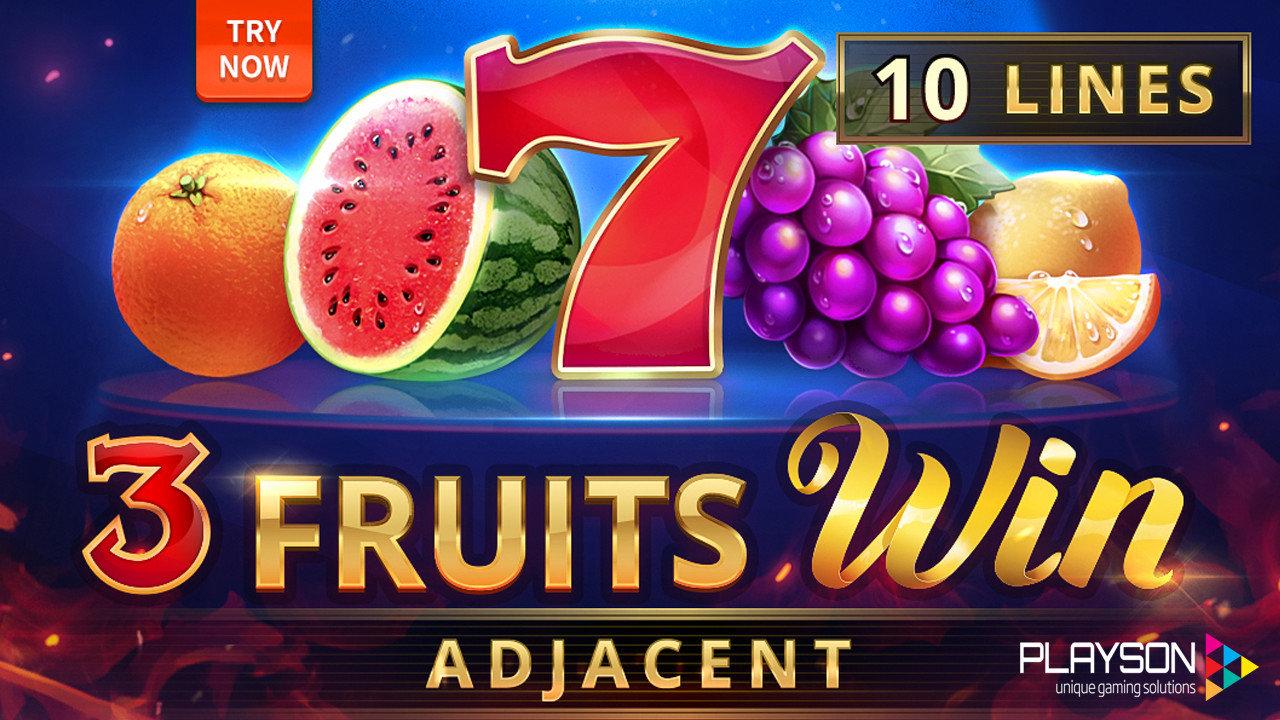 3 Fruits Win: 10 Lines Adjacent Slot Game Logo