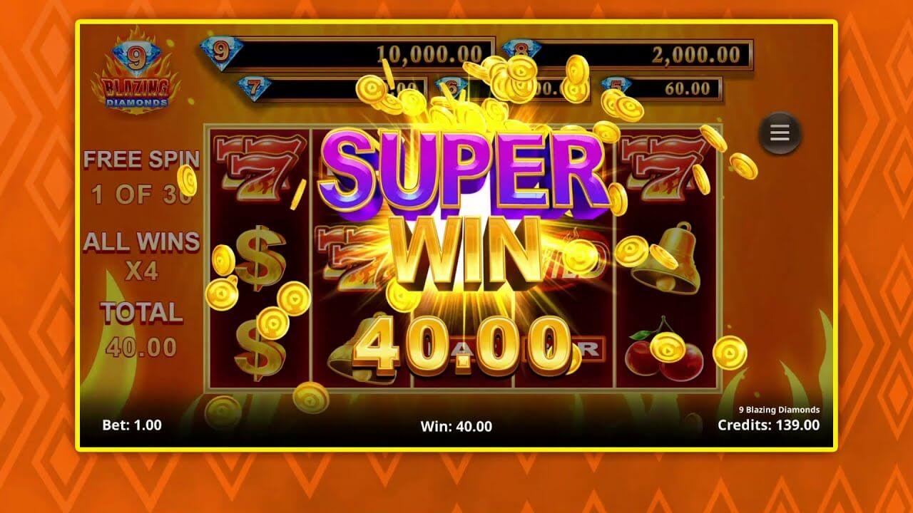 9 Blazing Diamonds Slot Wins