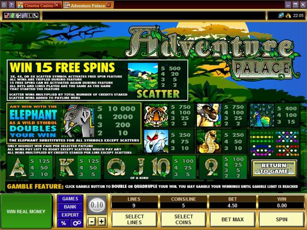 Adventure Palace Slot Bonuses