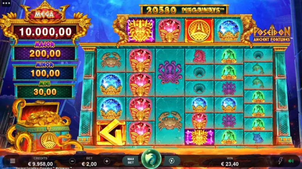 Ancient Fortunes Poseidon Megaways Slot Gameplay