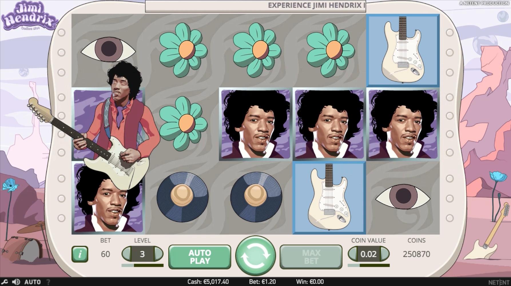 Jimi Hendrix Online Slot Screenshot