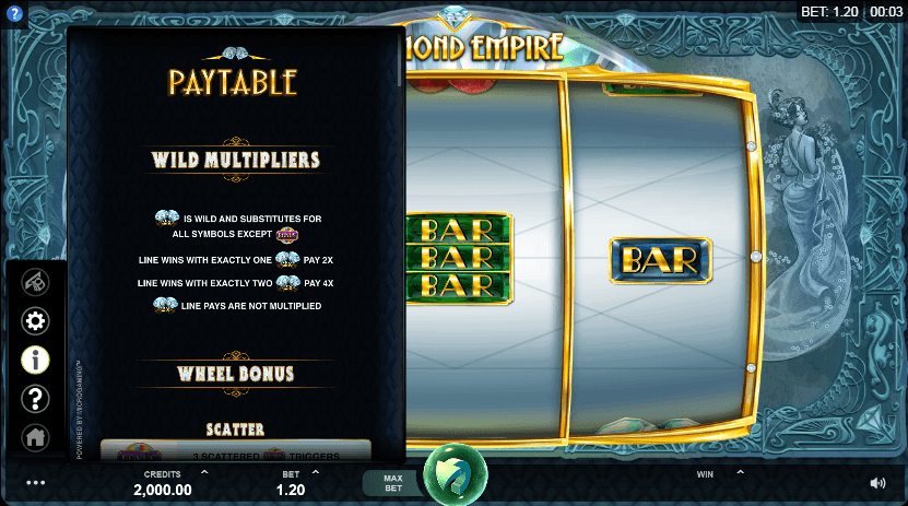Diamond Empire Slot Paytable