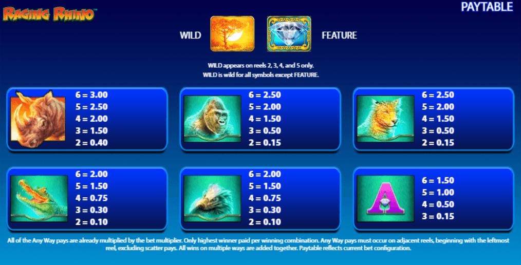 Raging Rhino Slot Symbols
