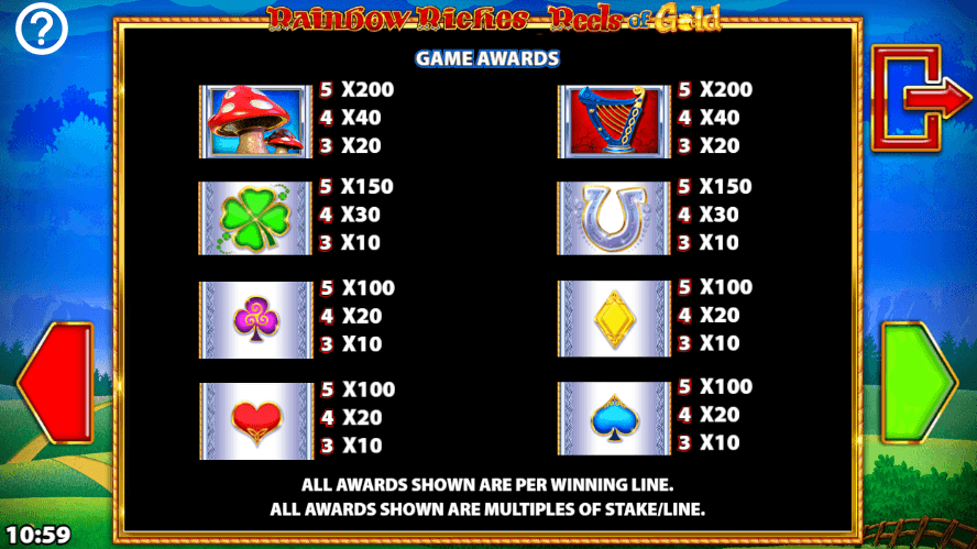 Rainbow Riches: Reels of Gold Slots Symbols