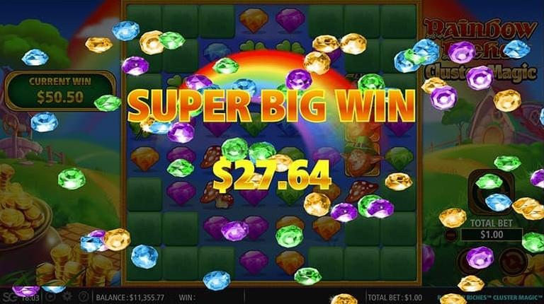 Rainbow Riches Cluster Magic Super Big Win