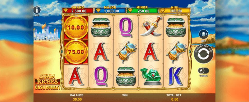 Sahara Riches Cash Collect Slot Gameplay