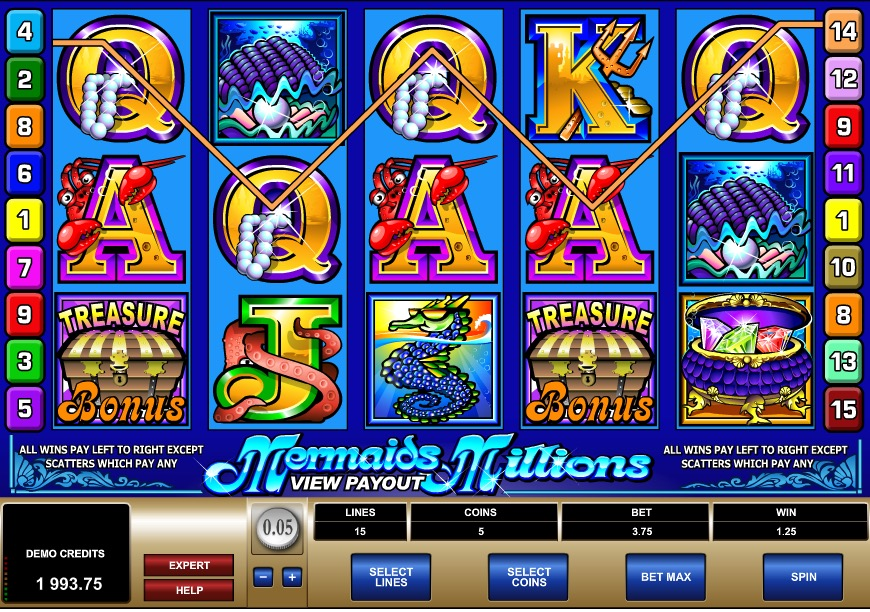 An Example Of A Win on Mermaid Slots