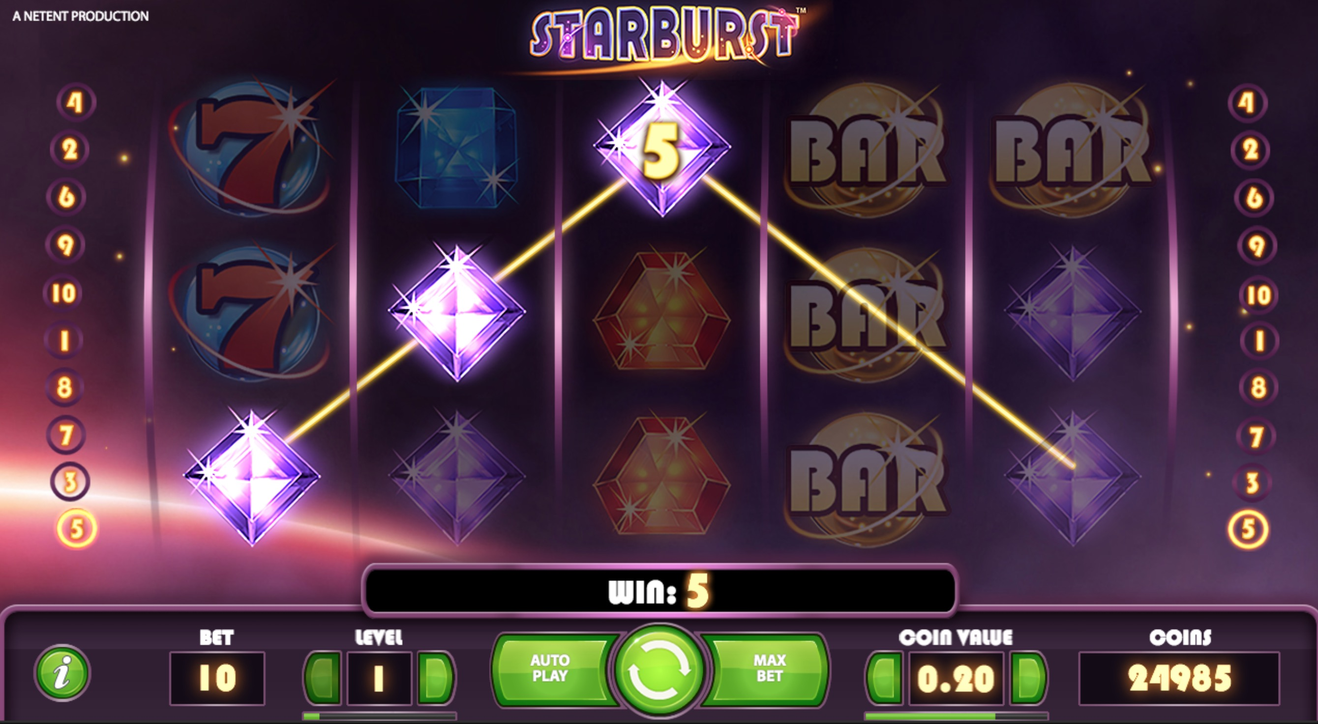 An example Of a Starburst Win