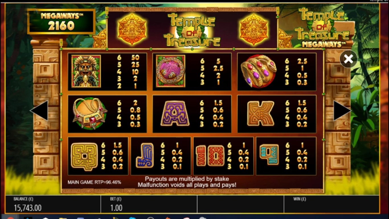 Temple of Treasure MegaWays Slot Symbols