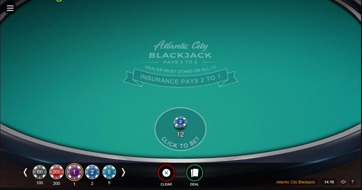 Atlantic City Blackjack Casino Game