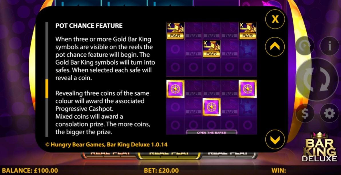 Bar King Deluxe Slot Features