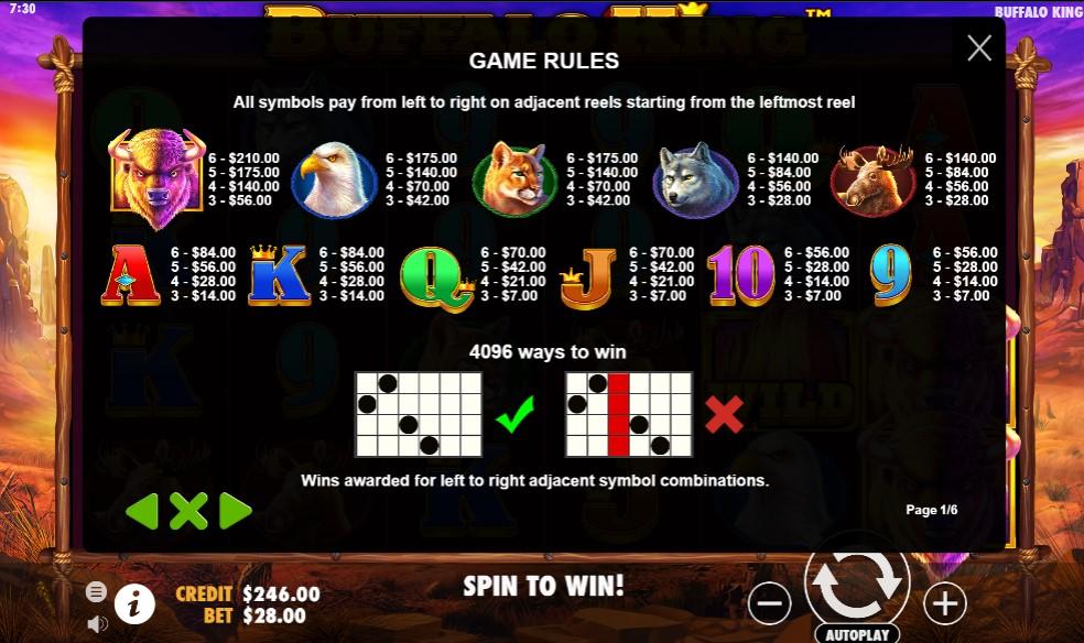Buffalo King Slot Paytable