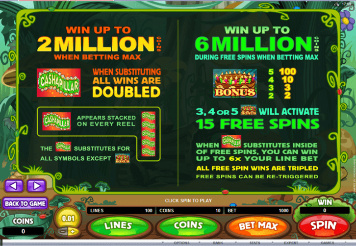 Cashapillar Slots Bonus Features