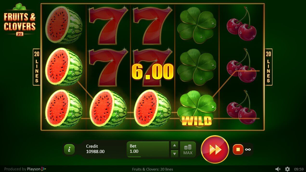Fruits and Clovers: 20 Lines Slot Reels