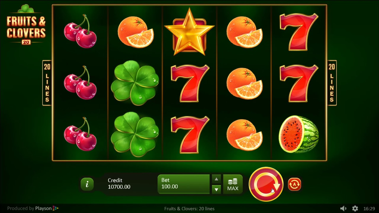 Fruits and Clovers: 20 Lines Slot Gameplay