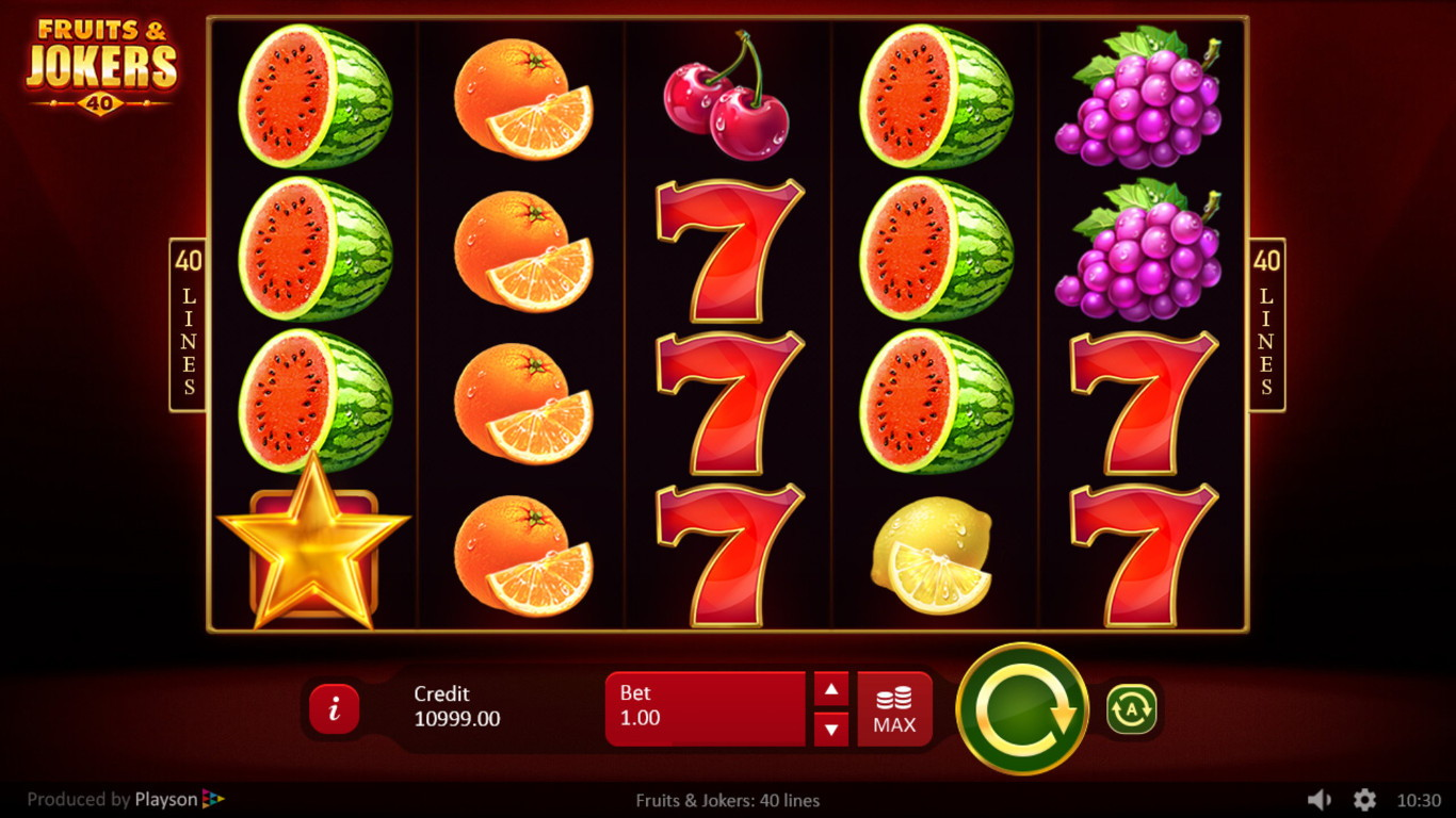 Fruits & Jokers: 40 Lines Slot Gameplay