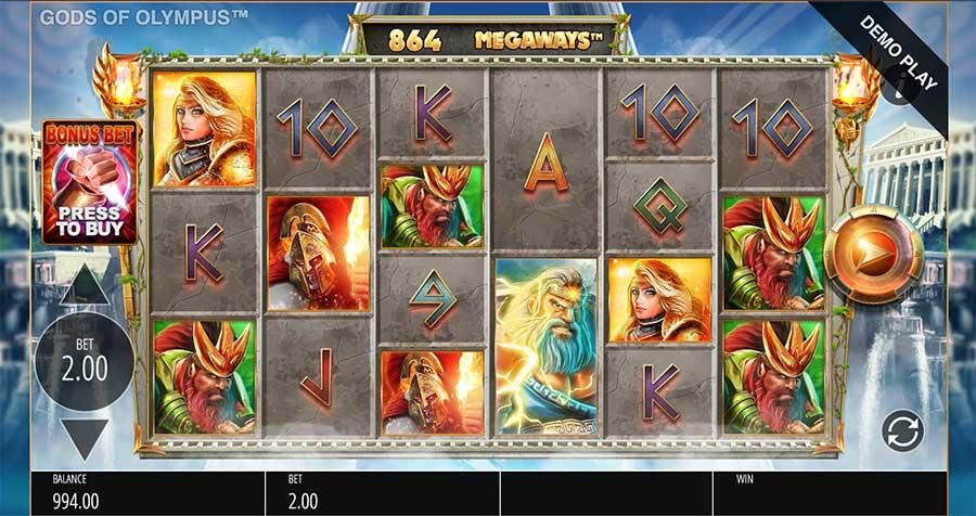 Gods of Olympus MegaWays Slots Gameplay