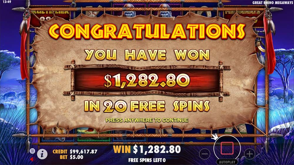 Great Rhino MegaWays Slot Win