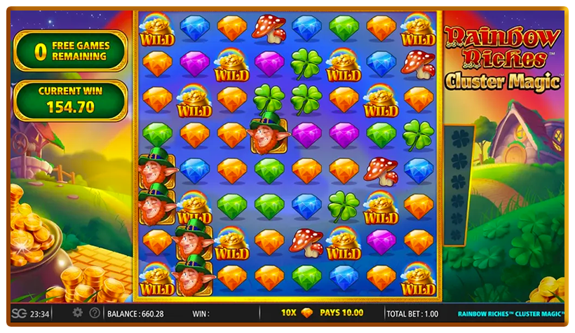 Rainbow Riches Cluster Magic Slot Paytable