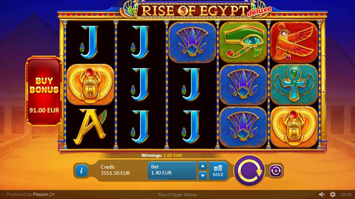 Rise of Egypt Deluxe Slot Gameplay