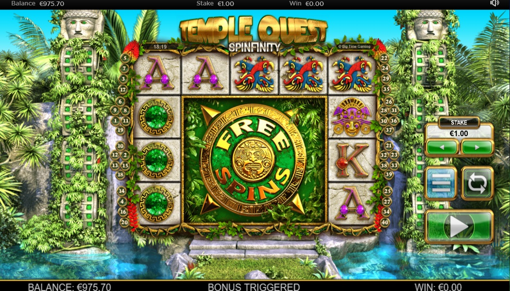Temple Quest Spinfinity Free Spins Slots