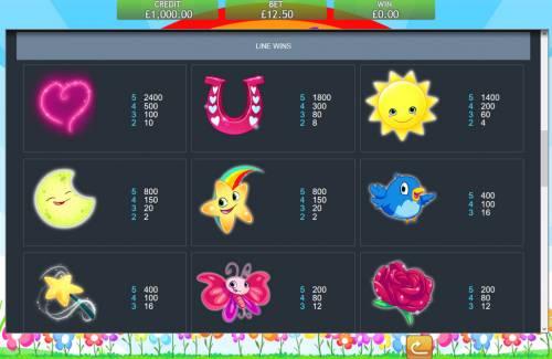 Unicorn Bliss Jackpot Slot Symbols