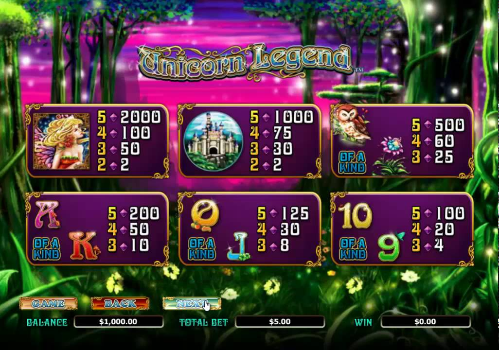 Unicorn Legend Slots Symbols